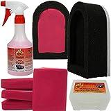 Reinigungsknete Set 200g Rot (stark) mit Halter + 500ml Gleitmittel Lackknete Clay Bar Applikator