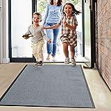 Floordirekt Schmutzfangmatte Monochrom | viele Größen, viele Farben | Länge auf Maß | rutschfeste waschbare Fußmatte (Silbergrau, 90 x 150 cm)