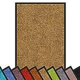 Floordirekt Schmutzfangmatte Rhine | waschbare & leistungsstarke Fußmatte | Sauberlaufmatte mit Rutschfester Rückseite | Türmatte in vielen Größen & Farben (Beige, 90 cm x 120 cm)