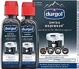 durgol swiss espresso Spezial-Entkalker – Kalkentferner für Kaffeemaschinen aller Typen und Arten – Einfache Reinigung ohne Einwirkzeit & Rückstände – Deutsche Version – 2x125ml